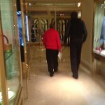 Rockets owner Les Alexander and legend Hakeem Olajuwon in the LA Hotel before meeting Dwight Howard