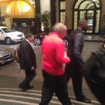 Rockets owner Les Alexander and Hall of Famer Hakeem Olajuwon outside their LA hotel