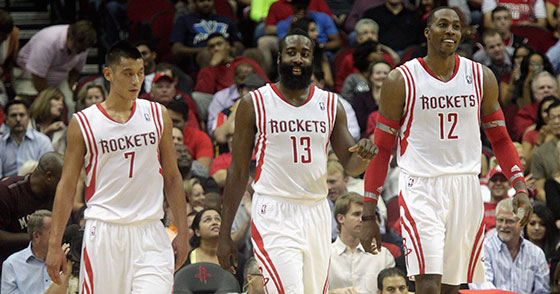 Jeremy Lin, James Harden and Dwight Howard